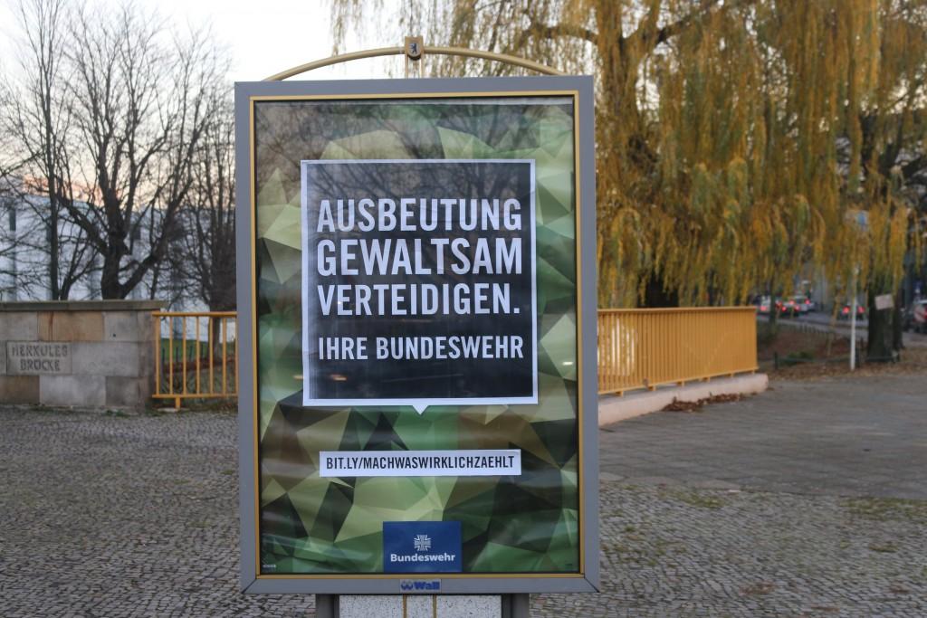 Bundeswehr-Adbusting: Ausbeutung gewaltsam verteidigen