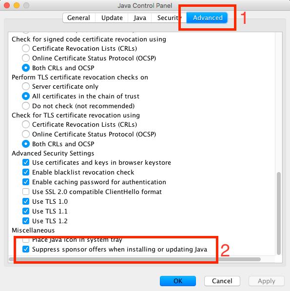 Screenshot: Java-Einstellungen, Werbung verstecken (markiert)