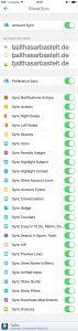 Screenshot von Airmail iPhone und allen Einstellungen von iCloud Sync