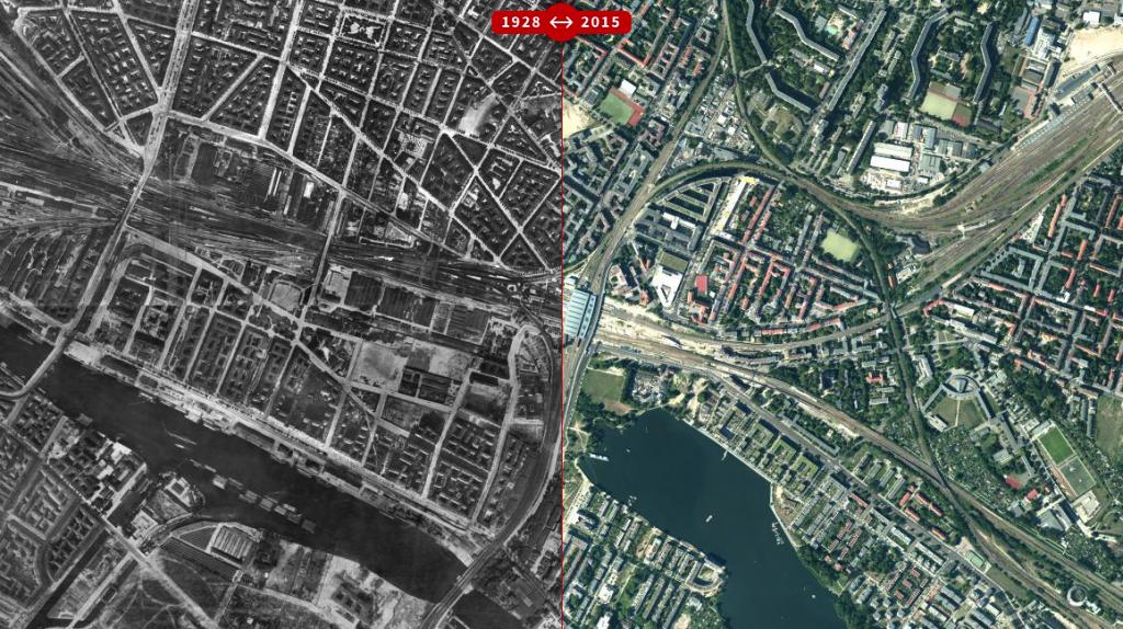 Karte von Berlin 1928 und 2015 im Vergleich, hier Kartenausschnitt vom Ostkreuz und Umgebung